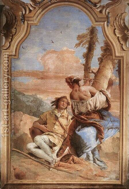 Angelica Carving Medoro's Name on a Tree 1757 by Giovanni Battista Tiepolo - Reproduction Oil Painting