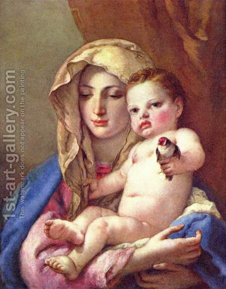 Madonna of the Goldfinch c. 1760 by Giovanni Battista Tiepolo - Reproduction Oil Painting