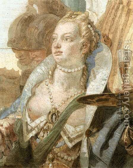 The Banquet of Cleopatra (detail-2) 1746-4 by Giovanni Battista Tiepolo - Reproduction Oil Painting