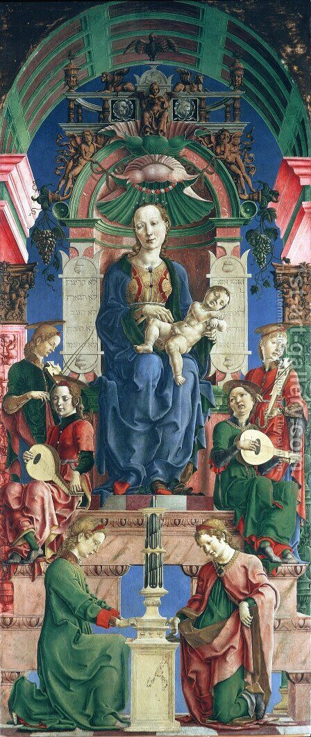 Madonna with the Child Enthroned (panel from the Roverella Polyptych) 1474 by Cosme Tura - Reproduction Oil Painting