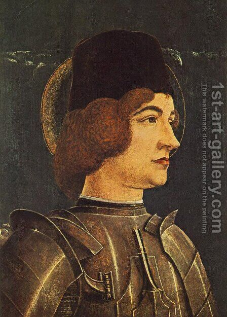 St George (fragment of a panel from the Roverella Polyptych) 1474 by Cosme Tura - Reproduction Oil Painting