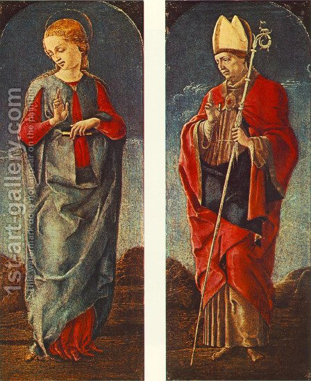 Virgin Announced and St Maurelio (panels of a polyptych) c. 1475 by Cosme Tura - Reproduction Oil Painting