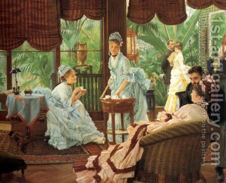 In the Conservatory (Rivals) (2)  1875-78 by James Jacques Joseph Tissot - Reproduction Oil Painting