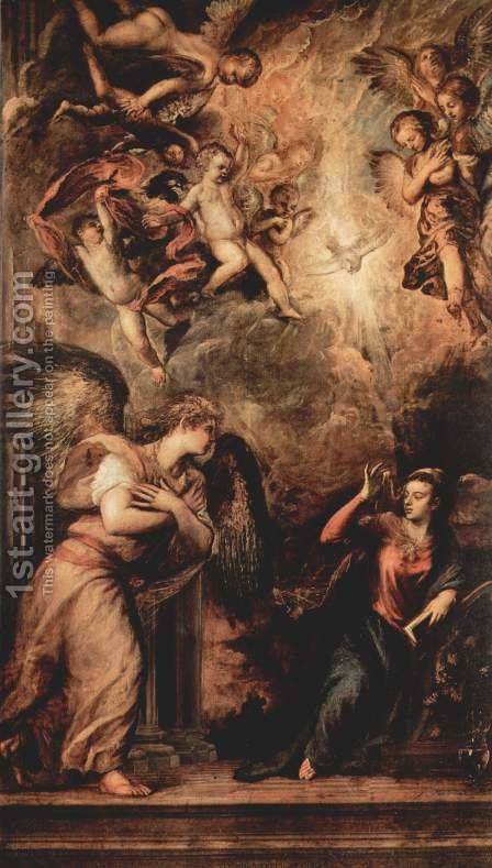 Annunciation 1559-62 by Tiziano Vecellio (Titian) - Reproduction Oil Painting