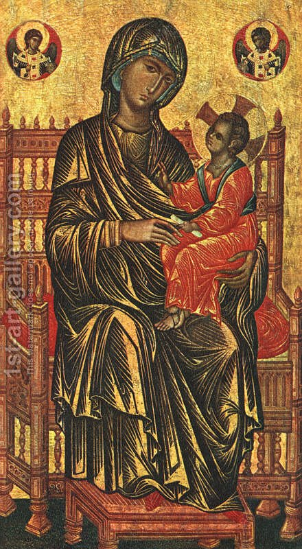 Enthroned Madonna and Child (13th Century) by Byzantine Unknown Master - Reproduction Oil Painting