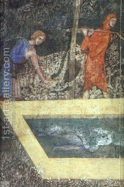 "Scenes of Country Life - ""Fishing in a Fish Pond"" - detail- far left  1343 by Italian Unknown Master - Reproduction Oil Painting"