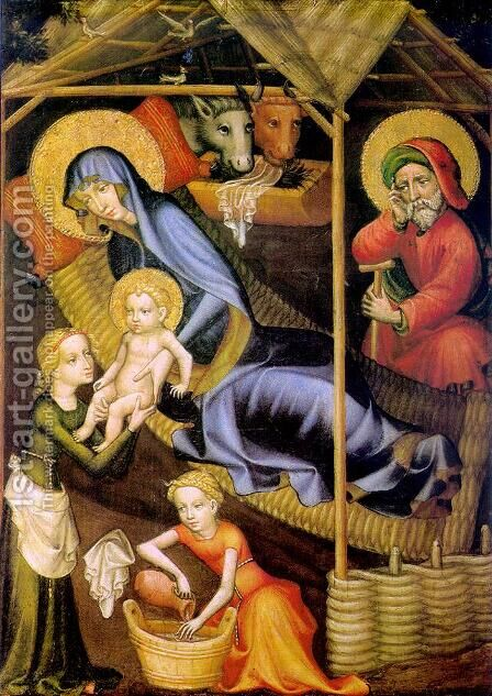 The Nativity c. 1400 by Austrian Unknown Master - Reproduction Oil Painting