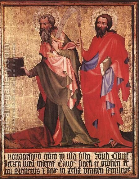 St Bartholomew and St Thomas 1395 by Bohimian Unknown Masters - Reproduction Oil Painting