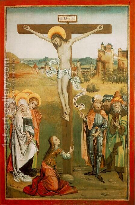 Crucifixion c. 1476 by Hungarian Unknown Masters - Reproduction Oil Painting