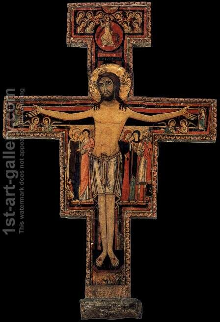 Crucifix of San Damiano (early 13th century) by Italian Unknown Masters - Reproduction Oil Painting