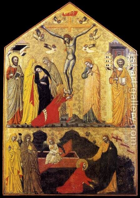Crucifixion with Saints and Noli Me Tangere (around 1350) by Italian Unknown Masters - Reproduction Oil Painting