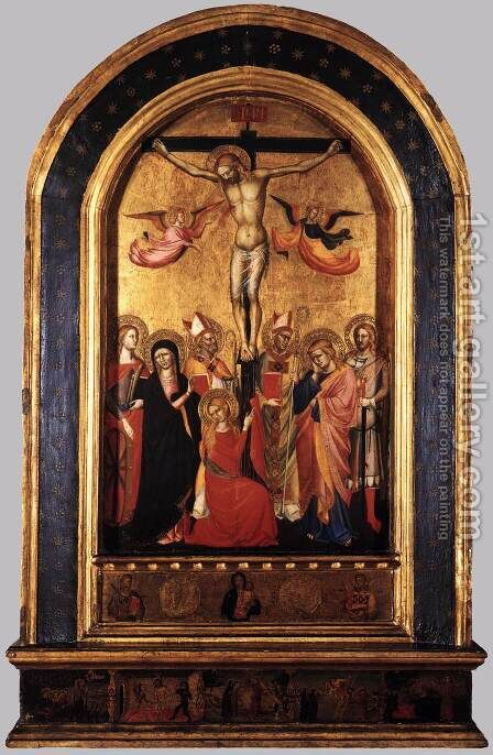 Crucifixion with the Virgin and Saints  1380-90s by Italian Unknown Masters - Reproduction Oil Painting