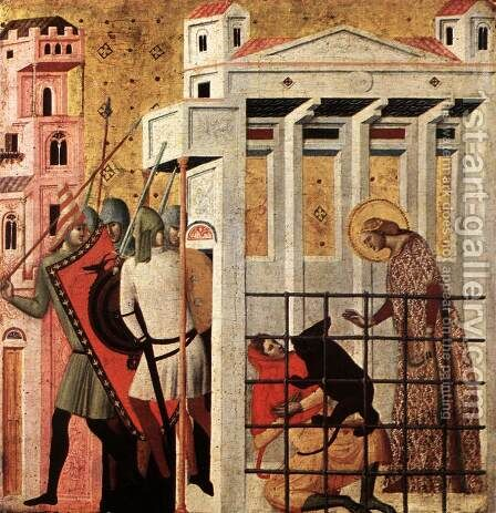 Scenes from the Life of St Colomba (St Colomba Saved by a Bear) c. 1340 by Italian Unknown Masters - Reproduction Oil Painting
