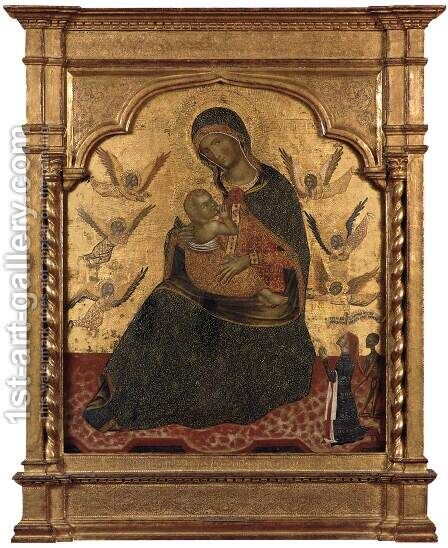 The Virgin of Humility with Angels and Donor c. 1360 by Italian Unknown Masters - Reproduction Oil Painting