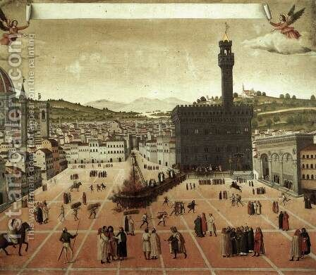 Execution of Savonarola on the Piazza della Signoria 1498 by Italian Unknown Masters - Reproduction Oil Painting