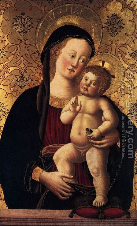 Madonna and Child with a Goldfinch (around 1450) by Italian Unknown Masters - Reproduction Oil Painting
