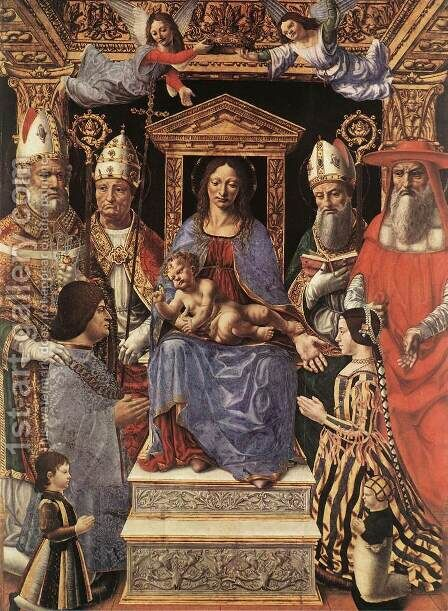 Madonna and Childs, Saints, and Donors 1496 by Italian Unknown Masters - Reproduction Oil Painting