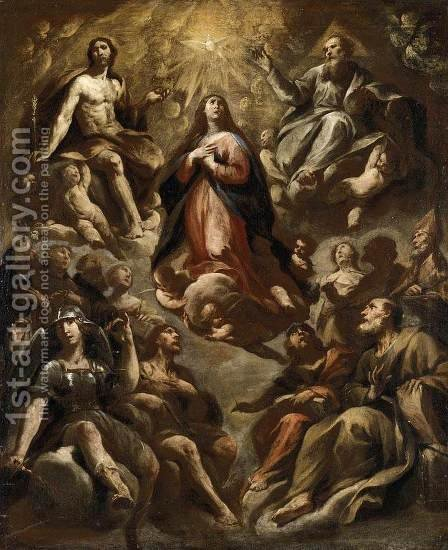 Assumption of the Virgin, Oil on canvas, 78 x 63 cm by Andrea Vaccaro - Reproduction Oil Painting