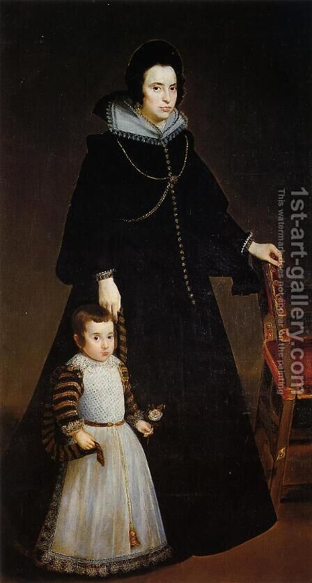 Dona Antonia de Ipenarrieta y Galdós and her Son Luis c. 1631 by Velazquez - Reproduction Oil Painting