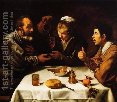 Peasants at the Table (El Almuerzo) c. 1620 by Velazquez - Reproduction Oil Painting