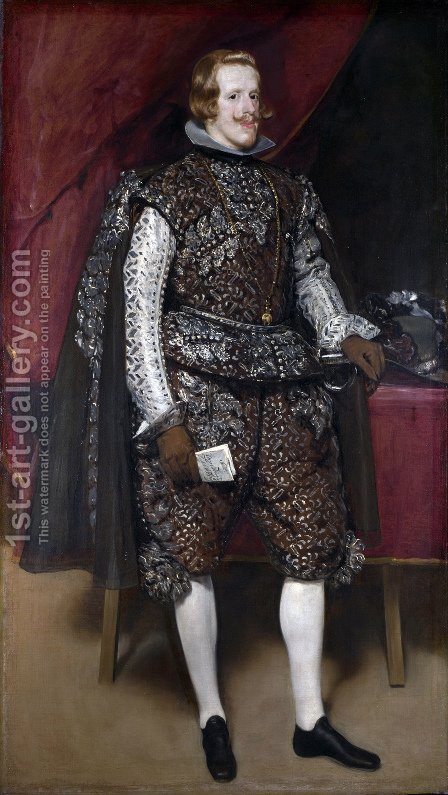 Philip IV in Brown and Silver 1631-32 by Velazquez - Reproduction Oil Painting