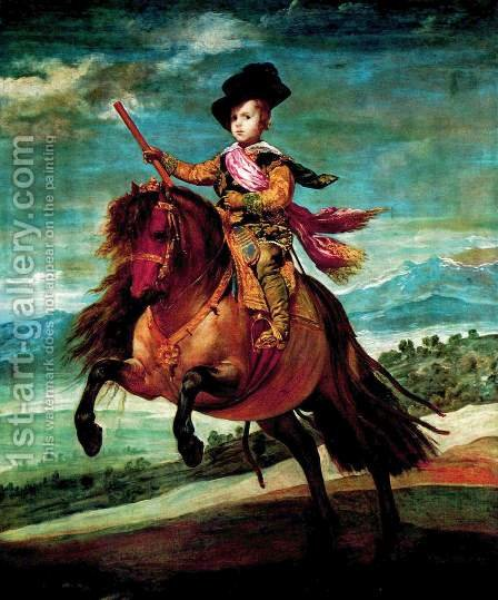 Prince Baltasar Carlos on Horseback 1635-36 by Velazquez - Reproduction Oil Painting