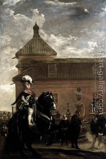 Prince Baltasar Carlos with the Count-Duke of Olivares at the Royal Mews c. 1636 by Velazquez - Reproduction Oil Painting