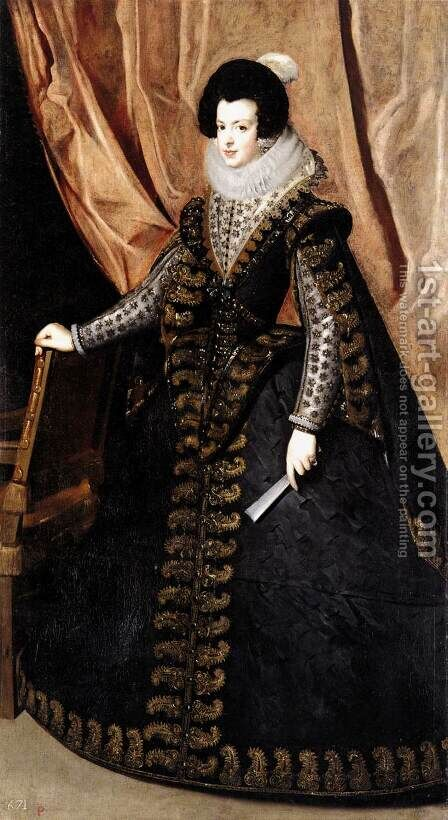 Queen Isabel, Standing 1631-32 by Velazquez - Reproduction Oil Painting