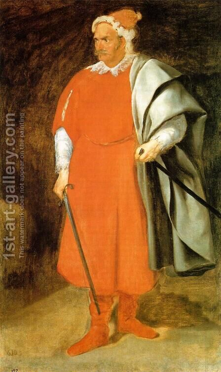 The Buffoon Don Cristobal de Castaneda y Pernia (Barbarroja) 1637-40 by Velazquez - Reproduction Oil Painting