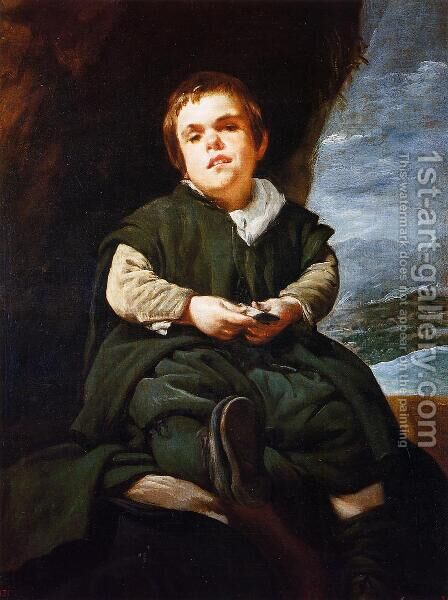 "The Dwarf Francisco Lezcano, Called ""El Nino de Vallecas"" 1643-45 by Velazquez - Reproduction Oil Painting"