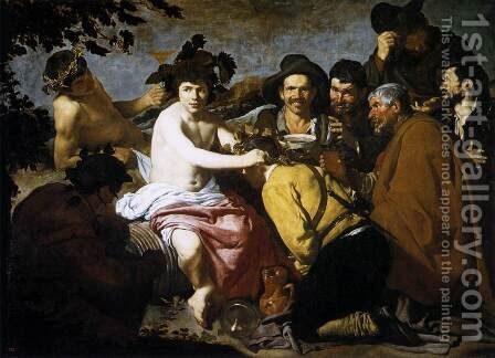 The Triumph of Bacchus (Los Borrachos, The Topers) c. 1629 by Velazquez - Reproduction Oil Painting