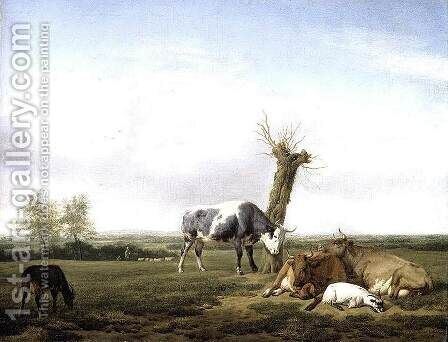 Cattle and Goats in a Meadow 1658 by Adriaen Van De Velde - Reproduction Oil Painting