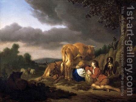 Milking a Cow 1666 by Adriaen Van De Velde - Reproduction Oil Painting