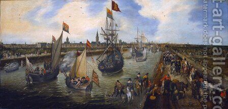 The Harbour of Middelburg 1625 by Adriaen Pietersz. Van De Venne - Reproduction Oil Painting