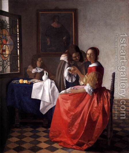 A Lady and Two Gentlemen c. 1659 by Jan Vermeer Van Delft - Reproduction Oil Painting