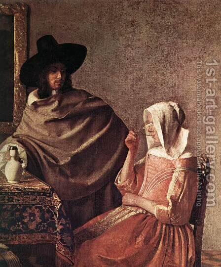 A Lady Drinking and a Gentleman (detail-1) c. 1658 by Jan Vermeer Van Delft - Reproduction Oil Painting