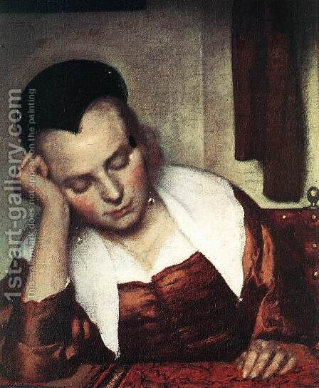 A Woman Asleep at Table (detail-1) c. 1657 by Jan Vermeer Van Delft - Reproduction Oil Painting