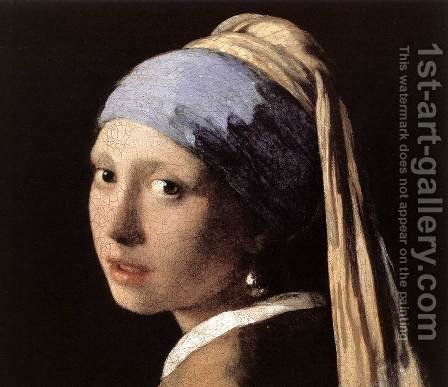 Girl with a Pearl Earring (detail-1) c. 1665 by Jan Vermeer Van Delft - Reproduction Oil Painting