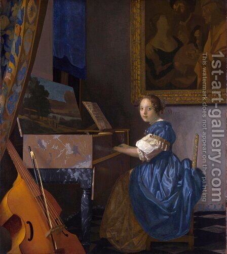 Lady Seated at a Virginal c. 1673 by Jan Vermeer Van Delft - Reproduction Oil Painting