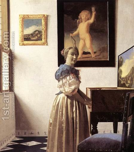 Lady Standing at a Virginal c. 1670 by Jan Vermeer Van Delft - Reproduction Oil Painting