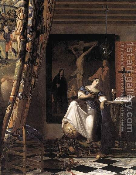 The Allegory of the Faith 1671-74 by Jan Vermeer Van Delft - Reproduction Oil Painting