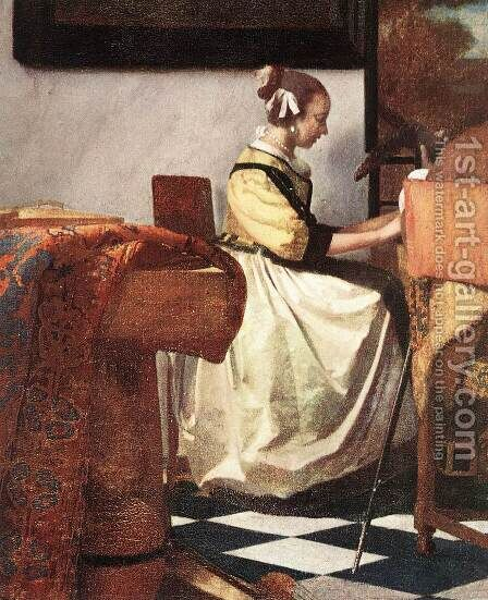 The Concert (detail-2)  1665-66 by Jan Vermeer Van Delft - Reproduction Oil Painting