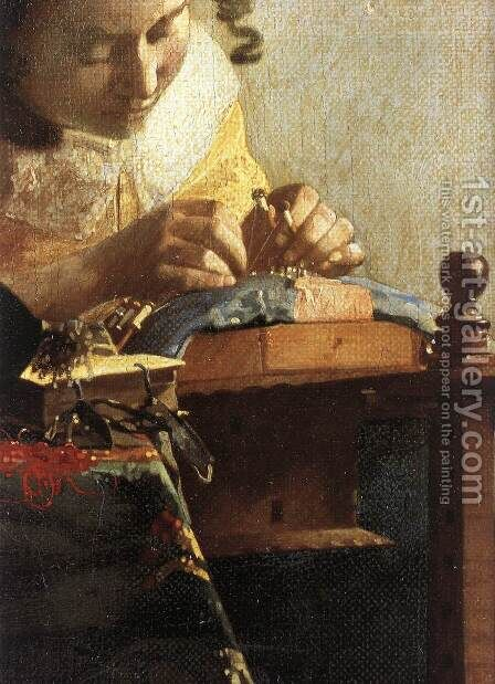 The Lacemaker (detail-1) 1669-70 by Jan Vermeer Van Delft - Reproduction Oil Painting