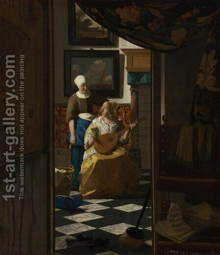 The Love Letter 1667-68 by Jan Vermeer Van Delft - Reproduction Oil Painting