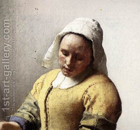 The Milkmaid (detail-1) c. 1658 by Jan Vermeer Van Delft - Reproduction Oil Painting