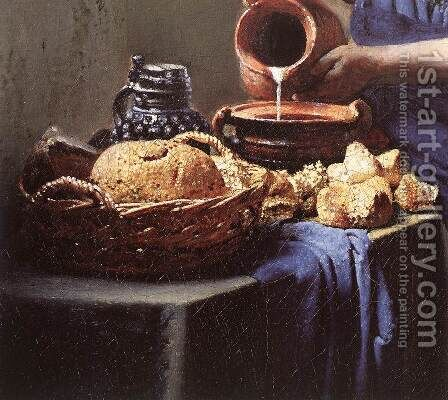 The Milkmaid (detail-4) c. 1658 by Jan Vermeer Van Delft - Reproduction Oil Painting