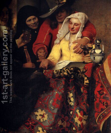 The Procuress 1656 by Jan Vermeer Van Delft - Reproduction Oil Painting