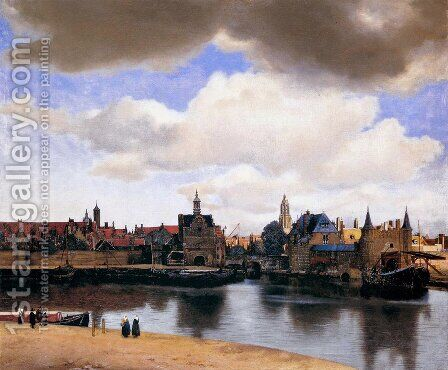 View of Delft 1659-60 by Jan Vermeer Van Delft - Reproduction Oil Painting