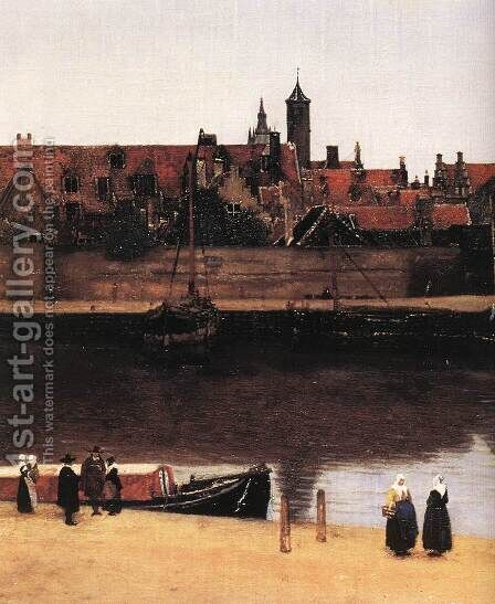 View of Delft (detail-2) 1659-60 by Jan Vermeer Van Delft - Reproduction Oil Painting