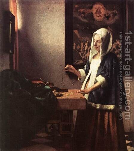 Woman Holding a Balance 1662-63 by Jan Vermeer Van Delft - Reproduction Oil Painting